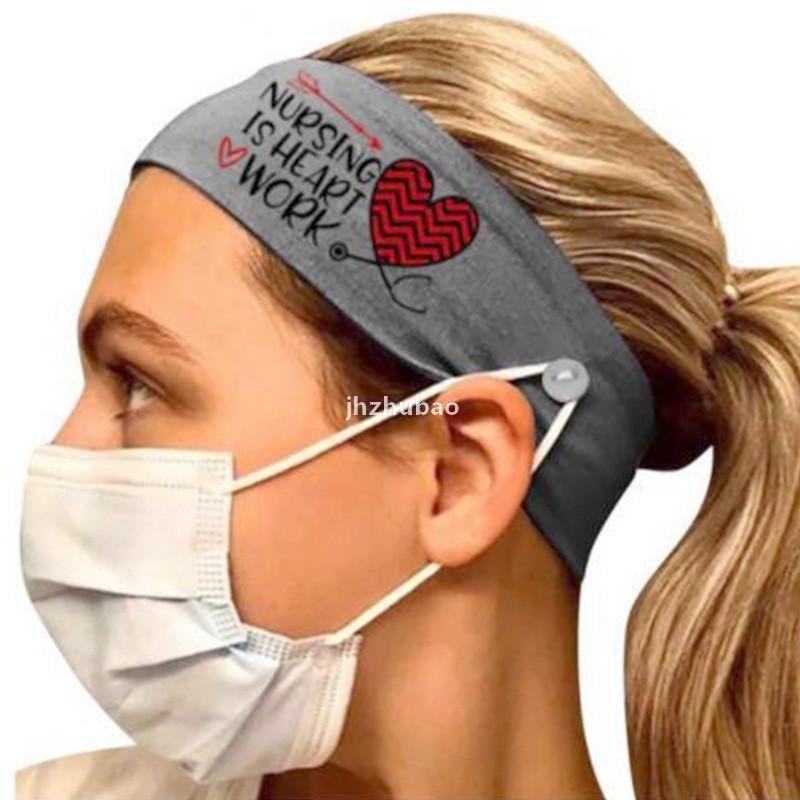 10 unids / lote New Leche Silk Nurse Bandas para el cabello con botones europeos 6 colores Impresión del corazón DIEADA PARA MUJERES FAVORES FACE DEPORTES CIOR ACCESORIOS