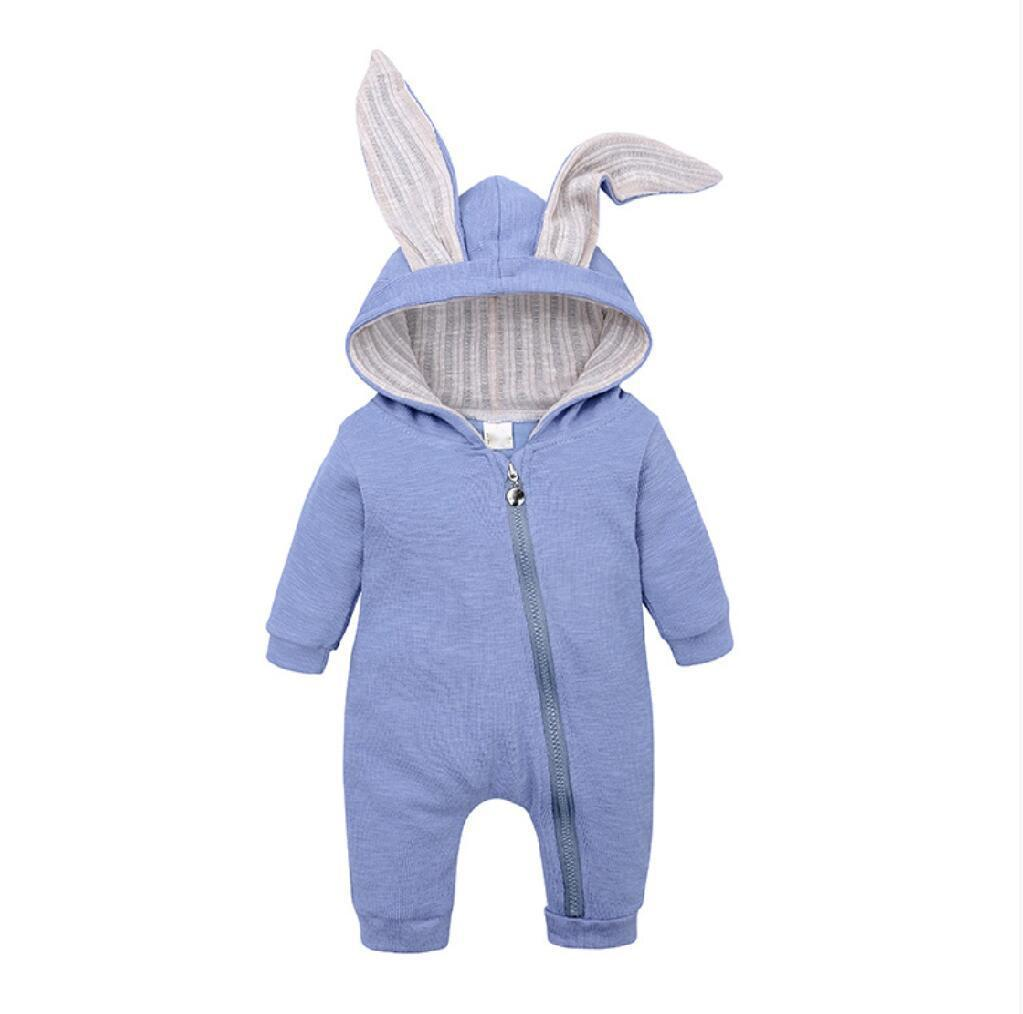 Baby Romper Jumpsuit Rabbit Ear for Boys and Girls with Hoodie Long Sleeve Solid Outfits Clothes Bodysuit Soft Cotton Blue Color