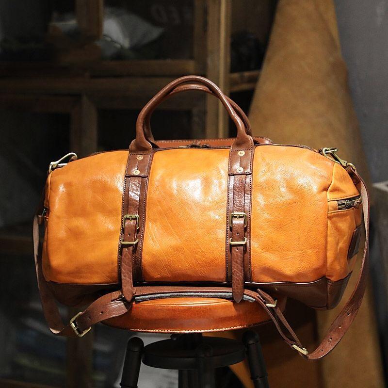 Duffel Bags Top Quality Vintage Casual Vegetable Tanned Cowhide Men's Travel Bag Unisex Big Capacity Leather School