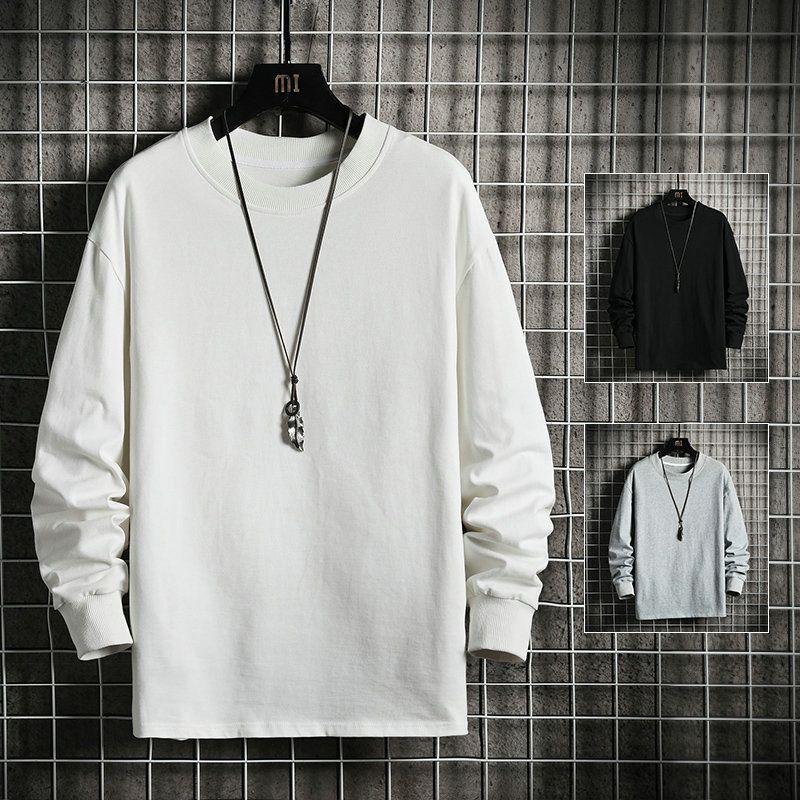 Erkek 2021 Bahar Yeni Katı Renk Basit Yuvarlak Boyun 100 Pamuk Gençlik Uzun Kollu Gevşek T-shirt