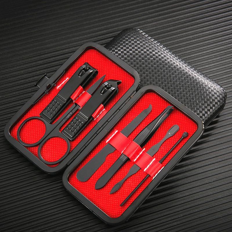 Kits de Arte Nail 7/8 / 10 pçs / Set Manicure Clippers Pedicure Set Portátil Viagem Higiene Kit Ferramenta de Cortador de Aço Inoxidável