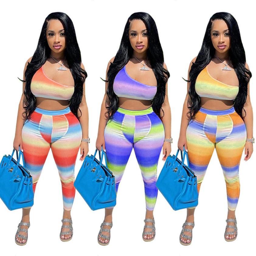 Women Tracksuits Summer striped Outfits Top+Leggings halter vest Two piece set plus size 2XL sportswear Contrast Color Jogger Suit DHL 4553