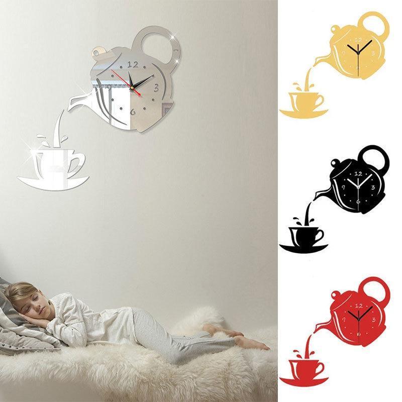 Wall Stickers Creative European Acrylic Teapot Mirror Clock Home DIY 3D Three-dimensional Decoration Digital Sticker