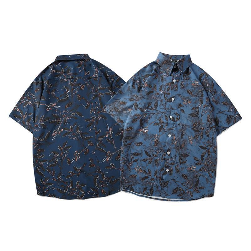 Chemises décontractées pour hommes Japonais Rétro Tendance de style Vacances Feuille Chemise à manches courtes Hawaiian Camisas Para Hombre