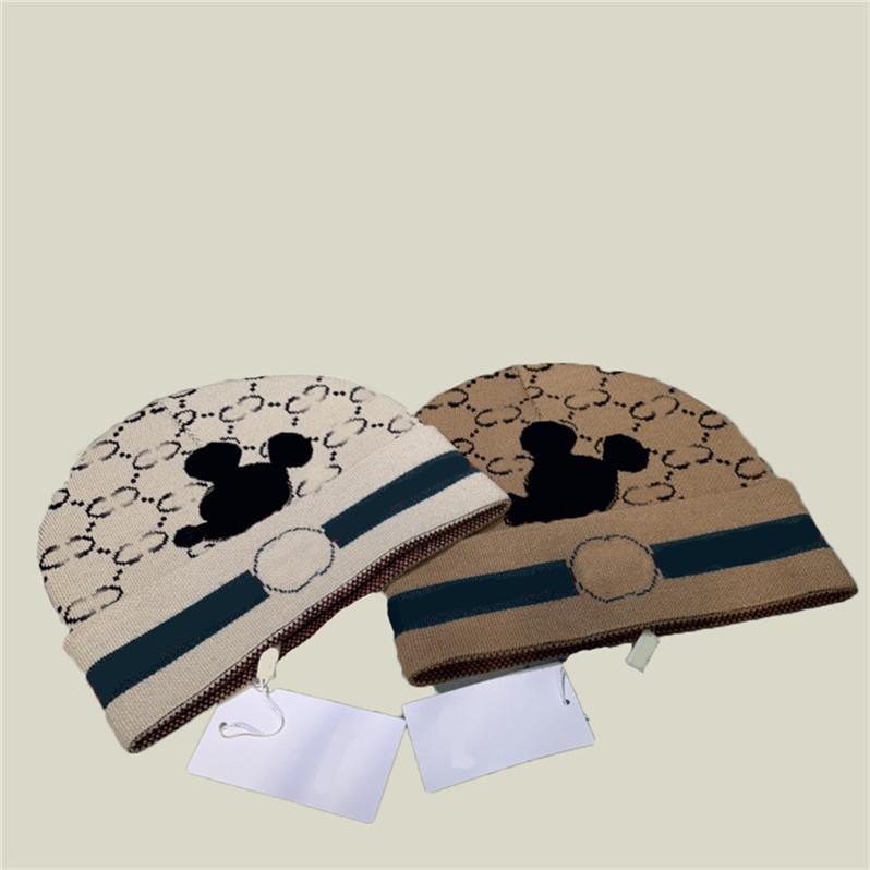 Modo cartone animato mouse tappi tappi designer lettera unisex beanie uomini donne tappo di lana autunno inverno cappelli caldi