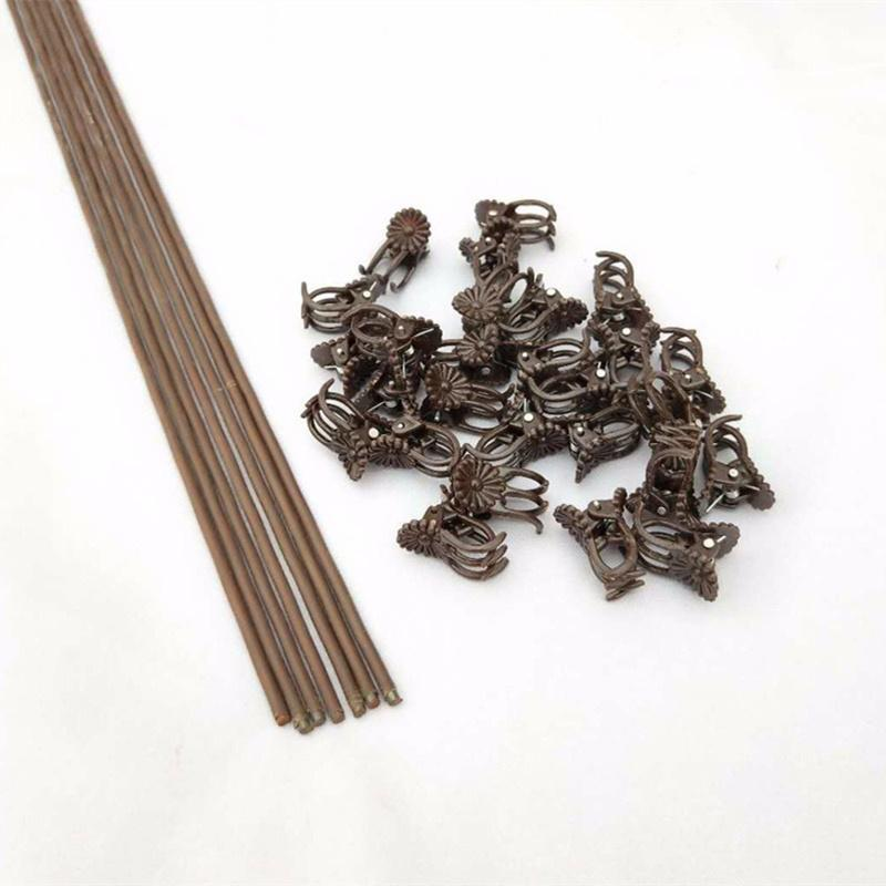 50Pcs Plastic orchid clips+10Pcs Plant Support fixed wire bracket Garden Flower Vine Clips for Supporting Stems Vines Stalks