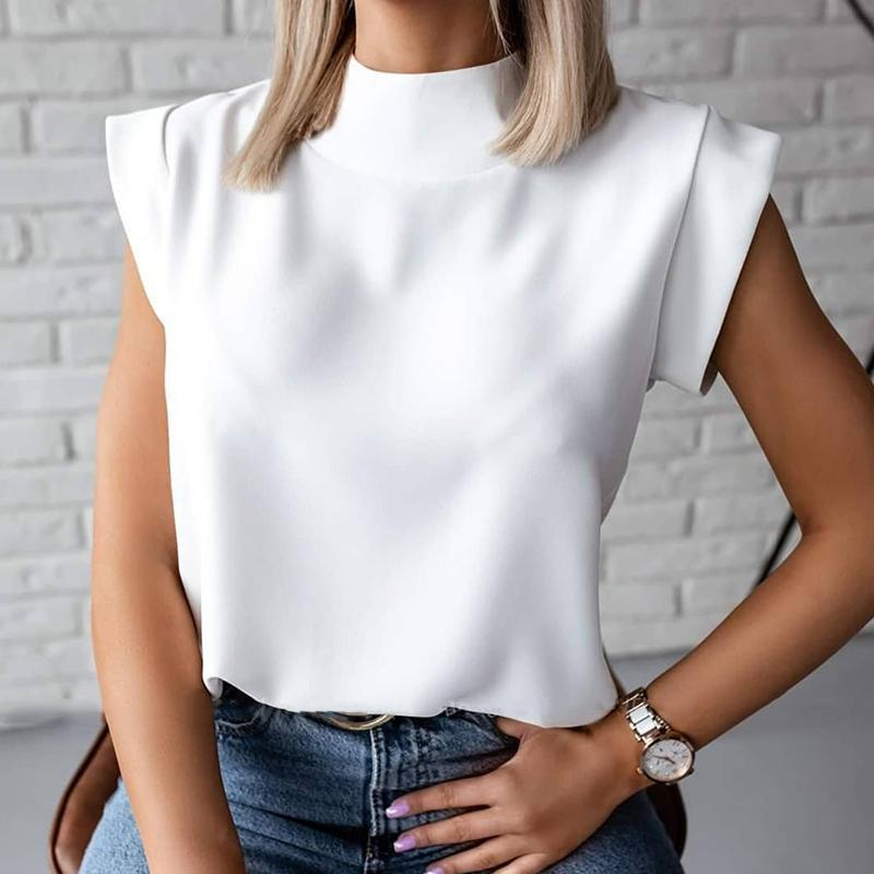 T-shirt das mulheres ocasionais sólidas do colarinho de suporte camisetas Tops fêmeas soltos da luva pequena 2021 Streetwear Senhora do verão da mola T-shirt