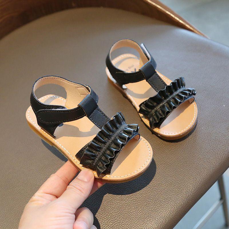 Moda Çocuk Sandalet Rahat Yaz Katı Renk Çocuklar Çiçekler Sıkı Dantel Plaj Ayakkabı Bebek Prenses Beyaz Siyah