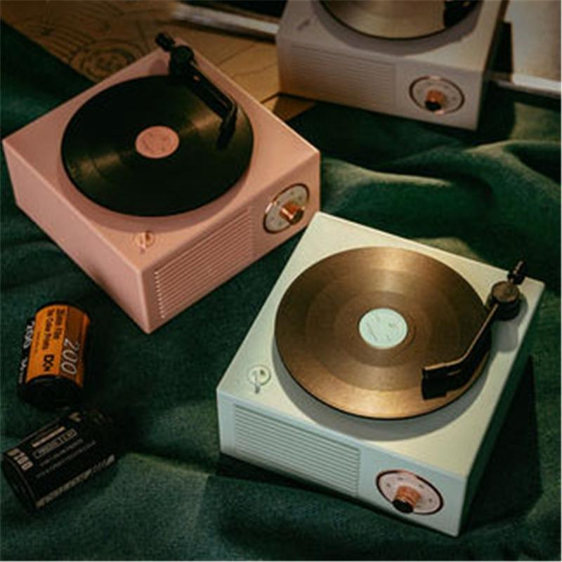 Retro Vinyl Record Bluetooth-динамик вращающийся проигрыватель игрока Средства стресса 28GE
