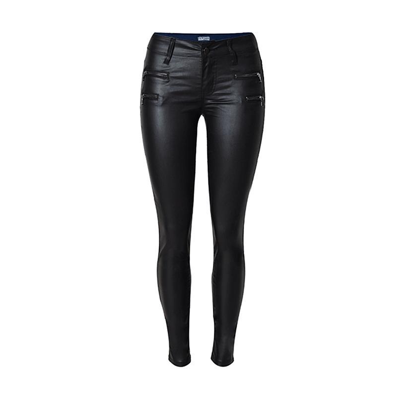 Autumn Winter Women Low Waist Slim Feet PU Leather Pants Double Zipper Black Denim Trousers Stitching Fashion Casual Jeans