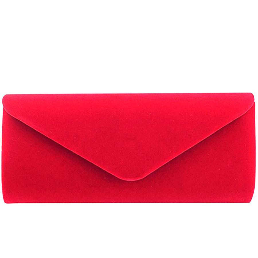 Élégant suède rouge femme solide femmes soir sacs enveloppe embrayage sac girl mariage main sac sac à main de la chaîne de bal de velours 210306