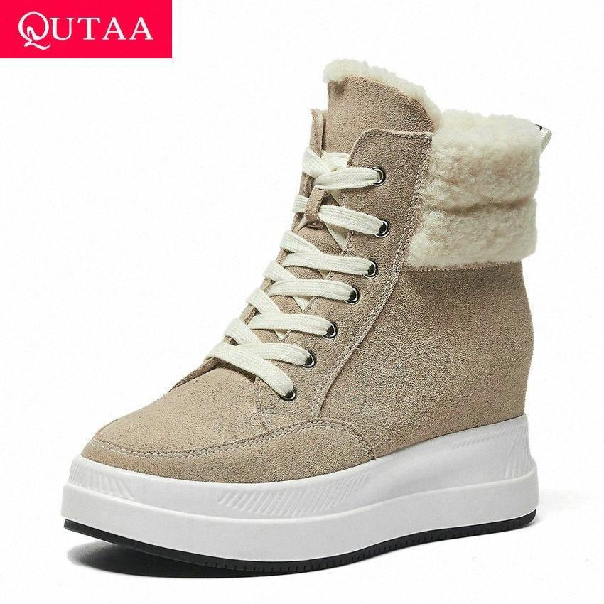 QUTAA 2020 Yuvarlak Toe Lace Up Ayak Bileği Çizmeler Takozlar Tüm Maç Kısa Çizmeler Kış Sıcak Kürk Yüksekliği Artan Kadın Ayakkabı Boyutu 34 39 Çizmeler n H3JV #