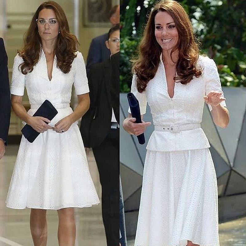 Kate Middleton de Alta Qualidade 2021 Verão Nova Feminina Feminina Festa Elegante Chique Chique Vestidos Brancos Vestidos Knee Comprimento 7BQ5
