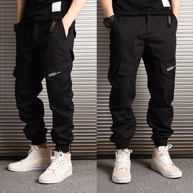 Kot moda streetwear gevşek fit rahat camoflage askeri kargo harem pantolon büyük cep hip hop joggers pantolon ccey