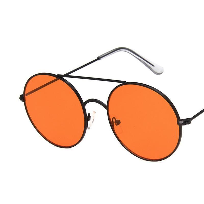 Sonnenbrille Großer Rahmen Orange Frauen Retro Metall Runde Brillen Transparente Meeresgläser