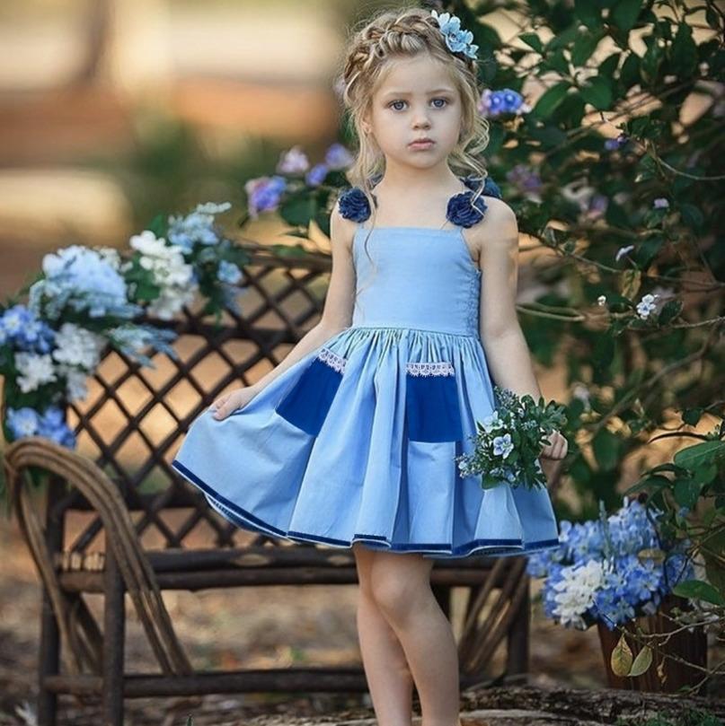 2021 Vestido de suspensión de las niñas de verano con el encaje Pleated Princess Vestidos Sin mangas Denim Blue Falda Pocket Playa Casual Ropa H230W96