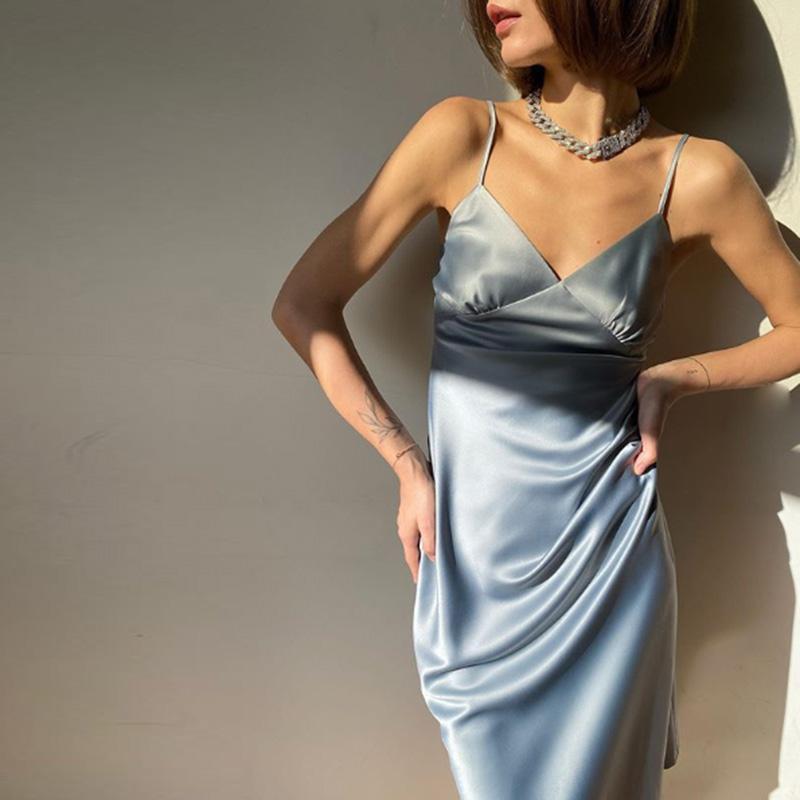 2020 Женщины Сатин Глубокий V Шея Сексуальное Платье Сплошное Прямое Пятжаемое Платье Вечеринка Элегантное Женское Лето Спагетти Ремешок Платье Повседневная