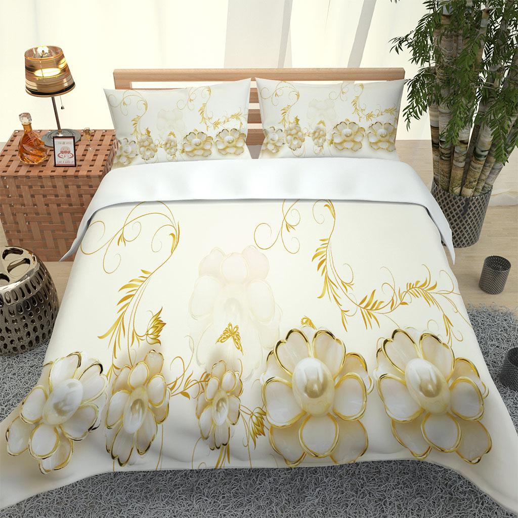 Conjunto de ropa de cama de pico blanco personalizado Conjunto de funda de edredón Doble Double Rey King Ropa de cama con funda de almohada Edredones