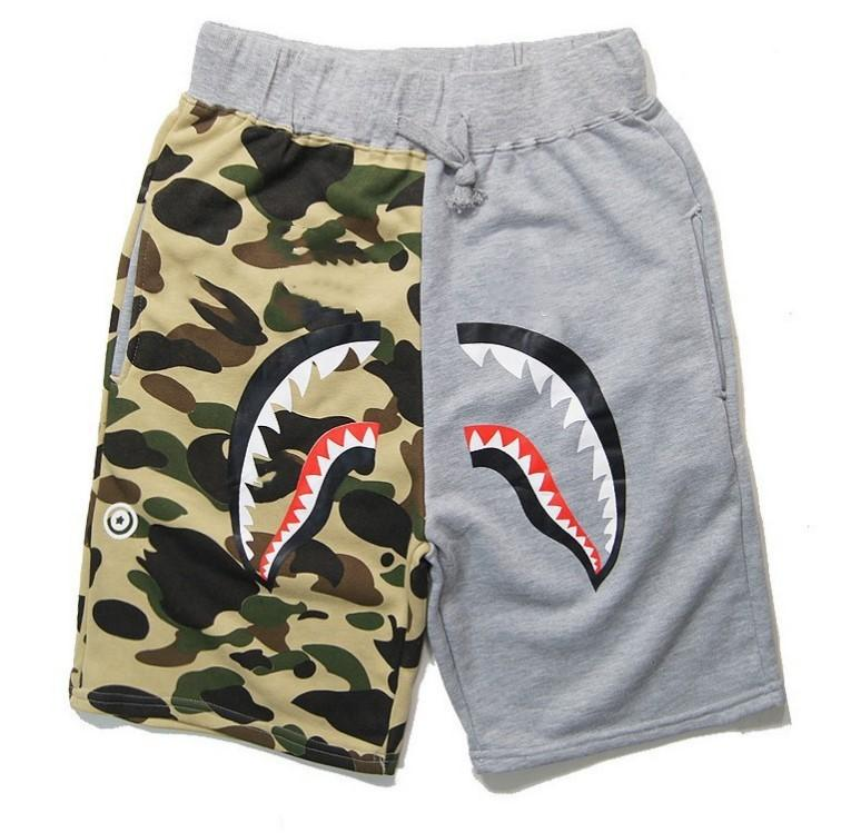Summer Hommes Beach Shorts Wommen Sportswear Pantalons Jogger Tracksuit Causel Black Hip Hop Hommes Shark Bouche Patchwork Patchwork Pantalon