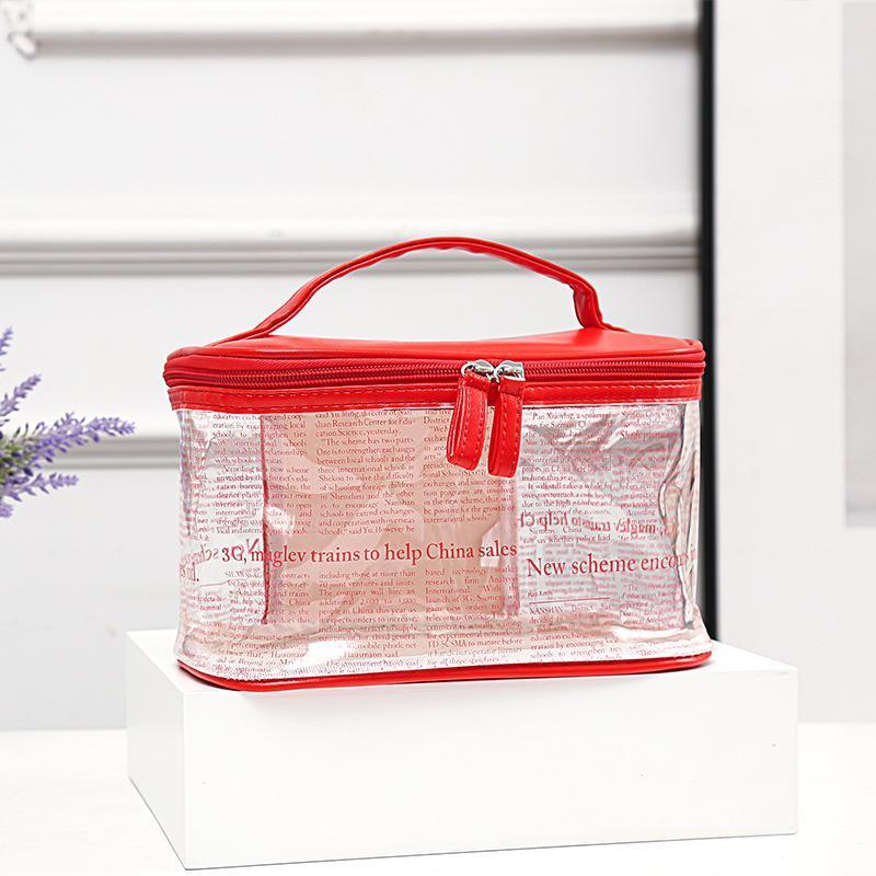 Sac de maquillage grand sac à main femmes Version coréenne couleur pure couleur transparent sacs à main de cosmétiques transparents sacs de toilette étanche