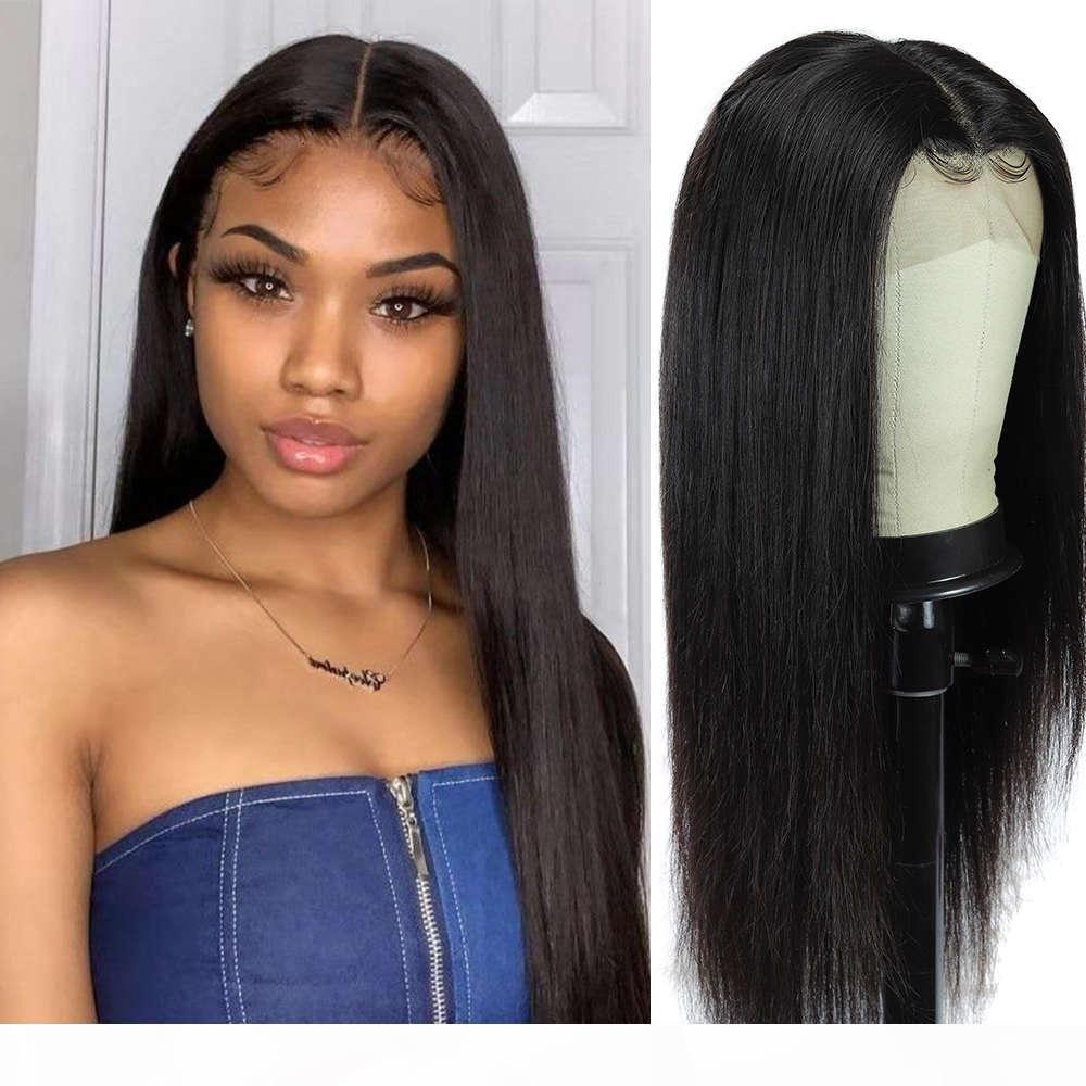 Мода плюс прямые блестящие полные человеческие парики для женщин фронт 150% бразильские реми волосы предварительно сорванный кружевной фронтальный парик