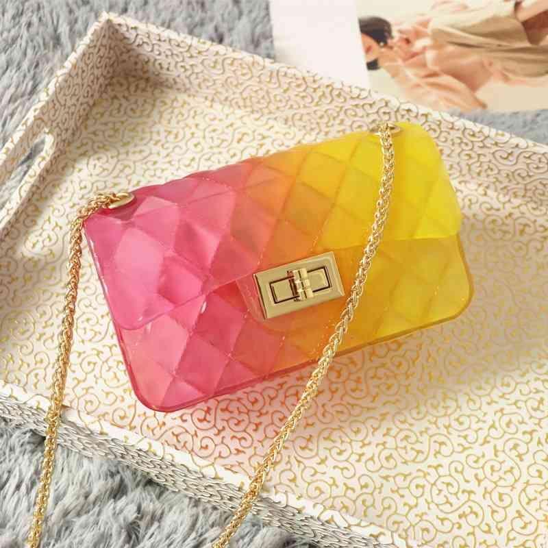 여성 디자이너 패션 가방 그라데이션 투명 젤리 Bagsmall 향수 체인 마름모꼴 싱글 어깨 메신저 가방