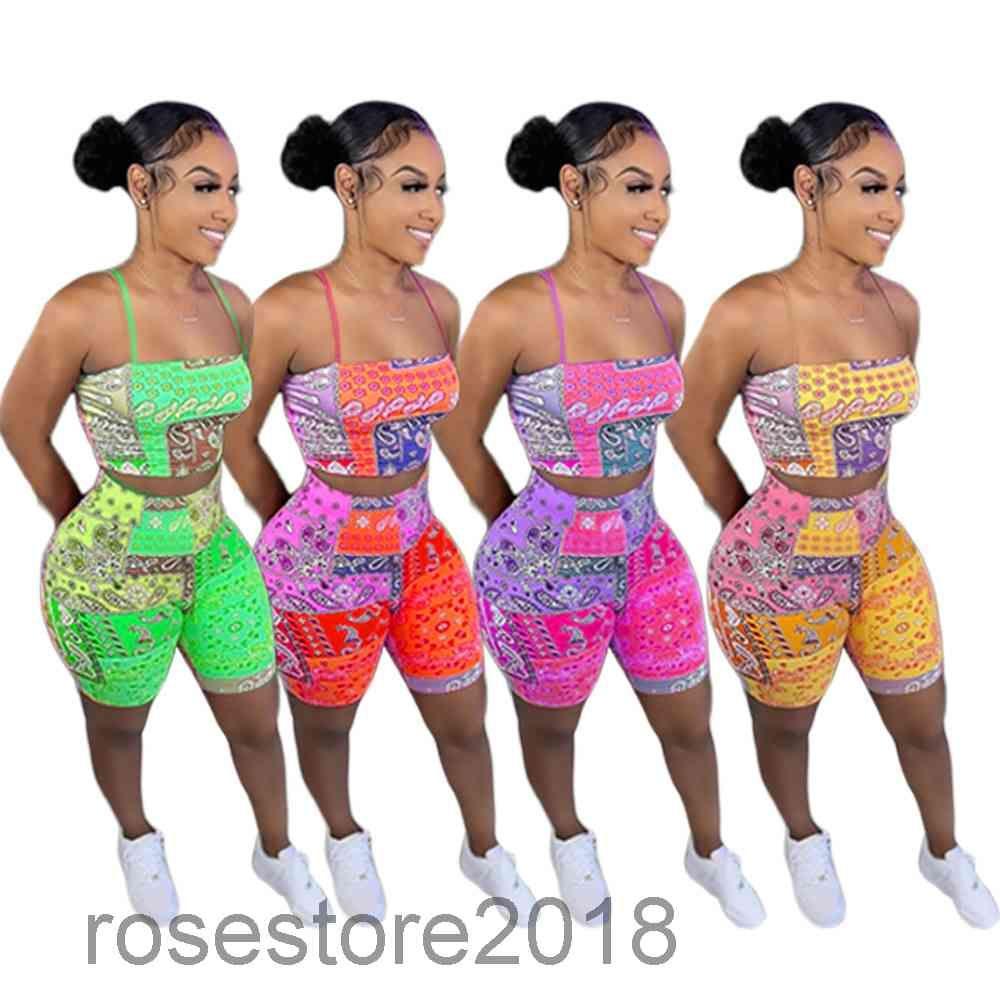 Женщины Cousssuit 2021 Летний Новый дизайнер мода женские показать фигуру персонализированные печатные висит маленький ремень бюстгальтер Бюстгальтер короткие два частя