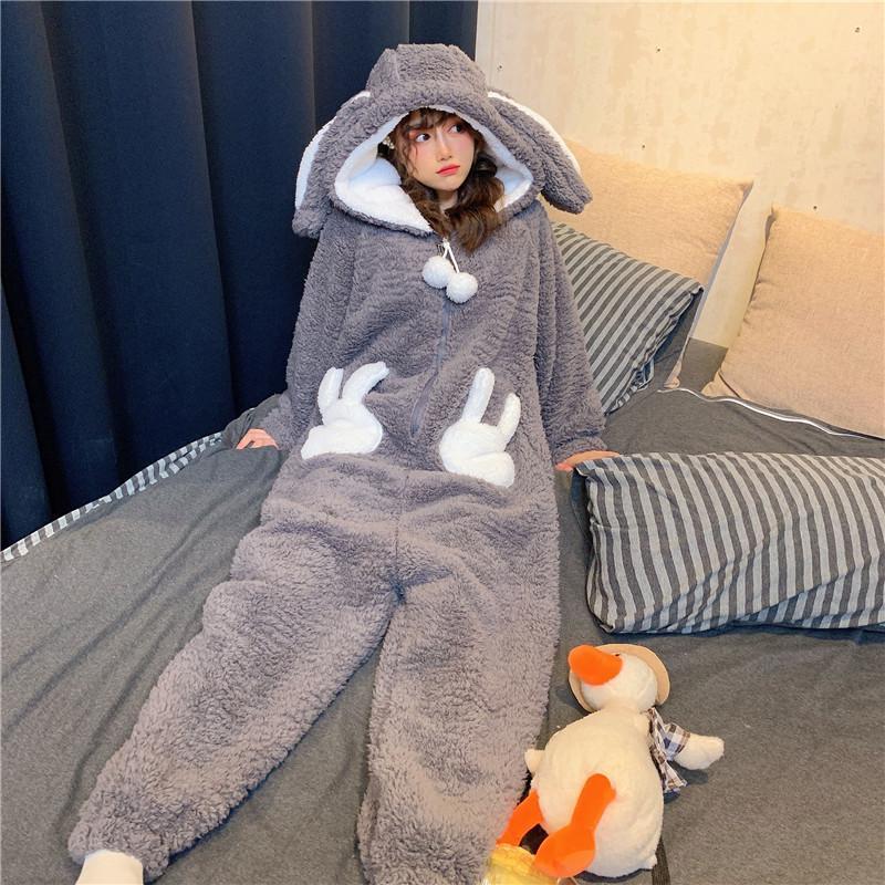Invierno espesado onesie pijamas mujeres cálido felpa kawaii animal conejo una pieza cosplay conejito homewear ropa de dormir traje de mono traje