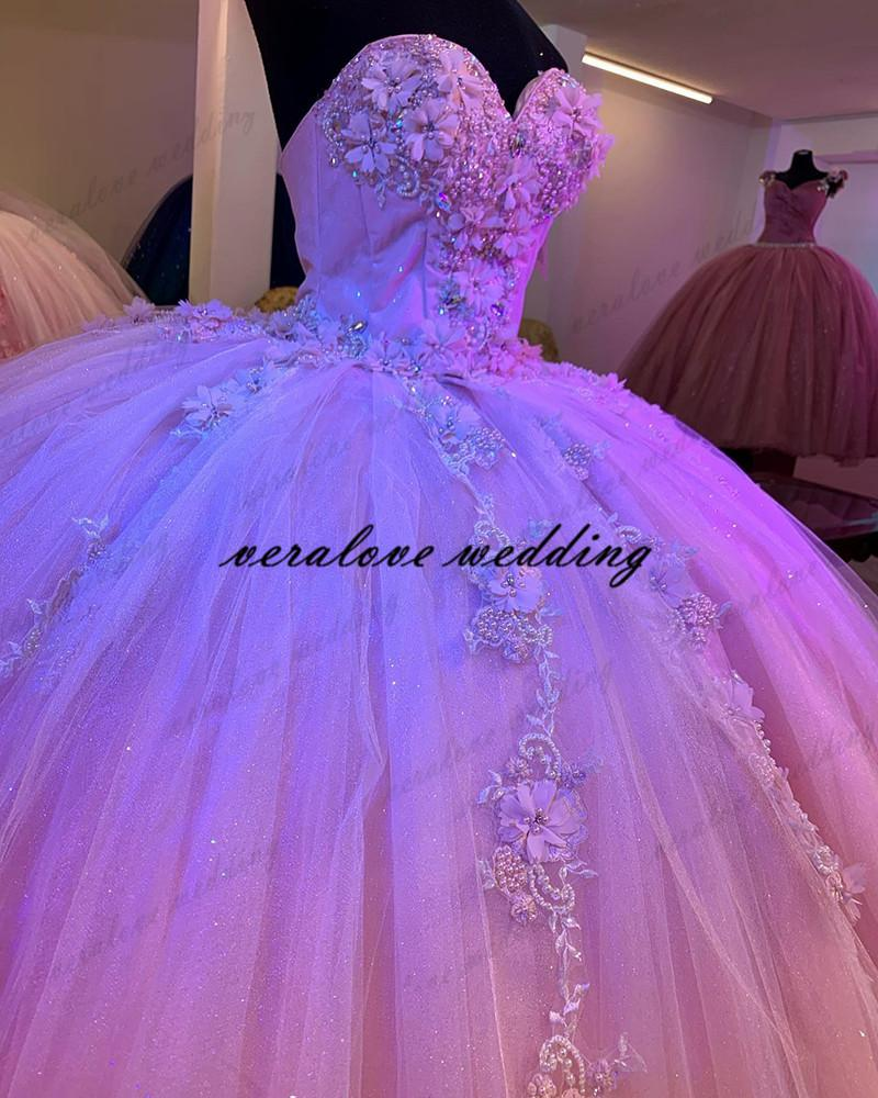 Pink Lace Quinceanera Dresses Ball Gown Prom Dress Sweetheart Vestidos Vx De Quinceanera Sweet 15 Prom Party Gowns