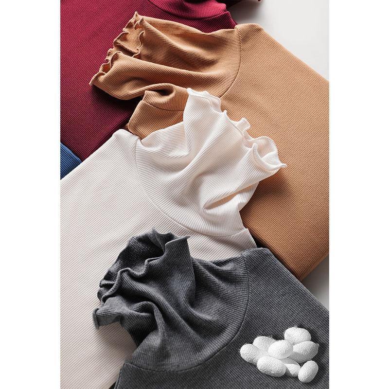 Women Knitted Pullover Female Simple Solid Color Ruffled Edge Knitwear Top
