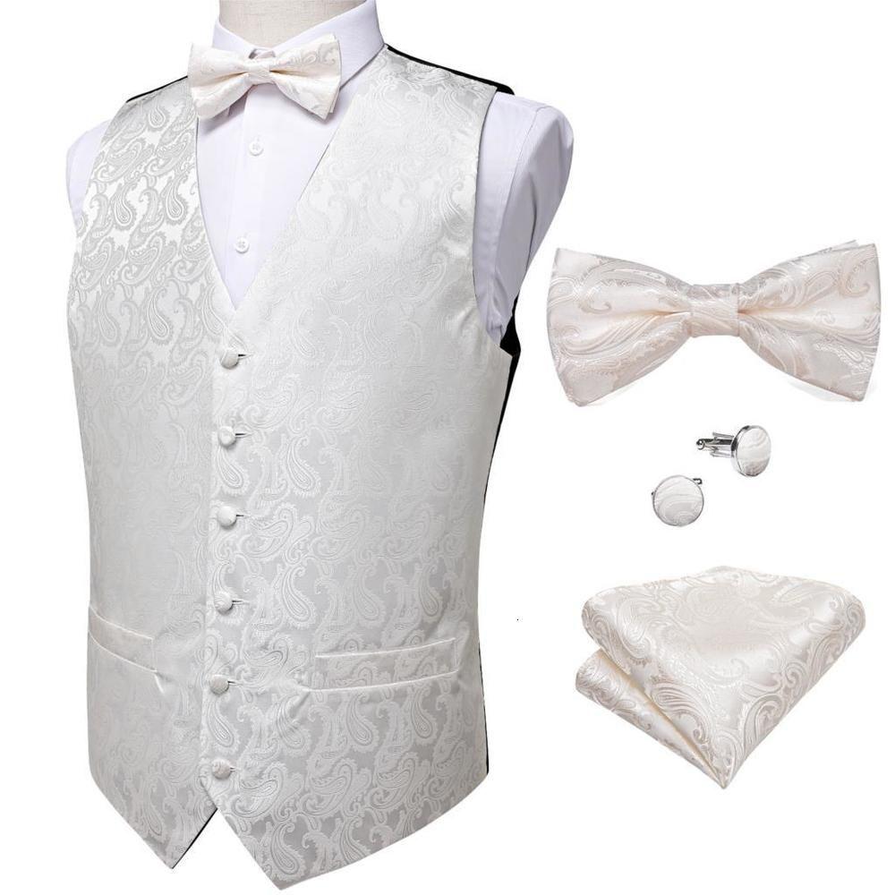 White Men's Suit Bow Tie Set Wedding Paisley Silk Vest Formal Tuxedo Waistcoat Business Casual Sleeveless Jacket DiBanGu