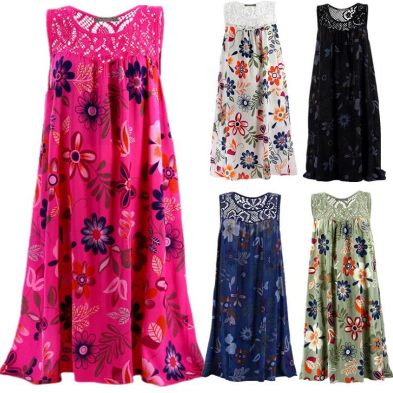 Sleeveless Tie Dye Women Dress Lace Loose Vintage Beach Summer Boho Dress Casual Party Sexy Dress Plus Size 5XL Female Vestidos 2021
