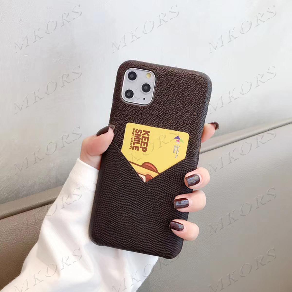L تصميم حالة الهاتف لآيفون 12 12PRO 11 11PRO X XS MAX XR 2018 8 8Plus 7 7Plus بو الجلود الحالات غطاء قذيفة مع فتحة بطاقة حامل