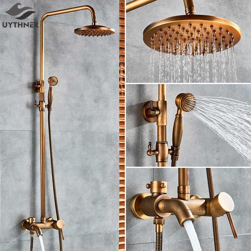 "Antik Pirinç Banyo Duş Seti Musluk Banyo Duş Mikser Dokunun 8 ""Yağış Kafa Banyo Duş Seti Küvet Bataryası Duvara Monte T200612"