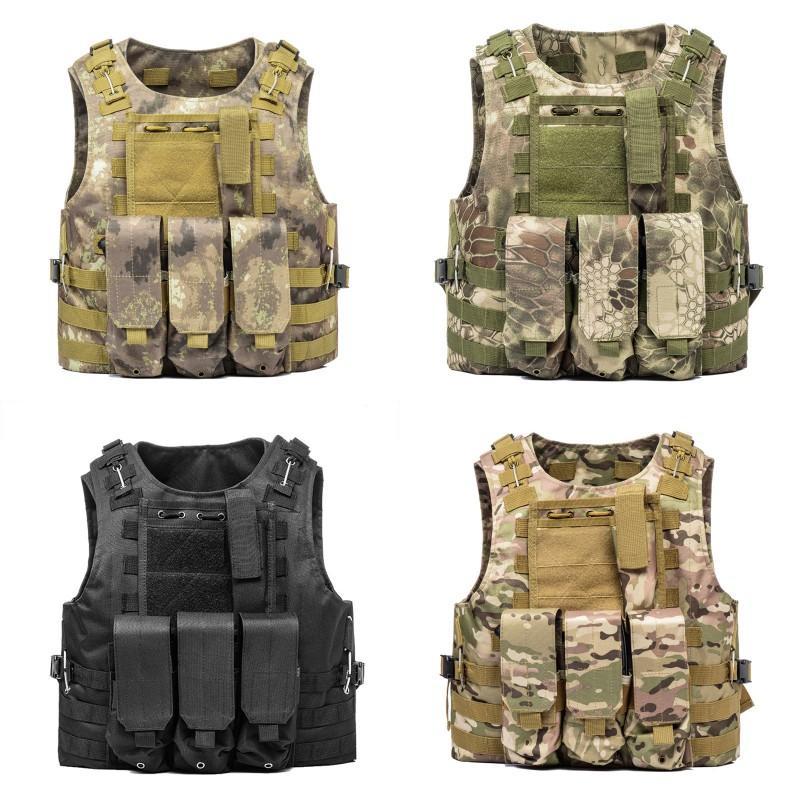 Airsoft Tactical Gilet Molle Combat Assault Assalto Abbigliamento Abbigliamento Piastra Carrier Tactical Gilet 7 colori CS Abbigliamento da esterno Gilet da caccia 205 x2