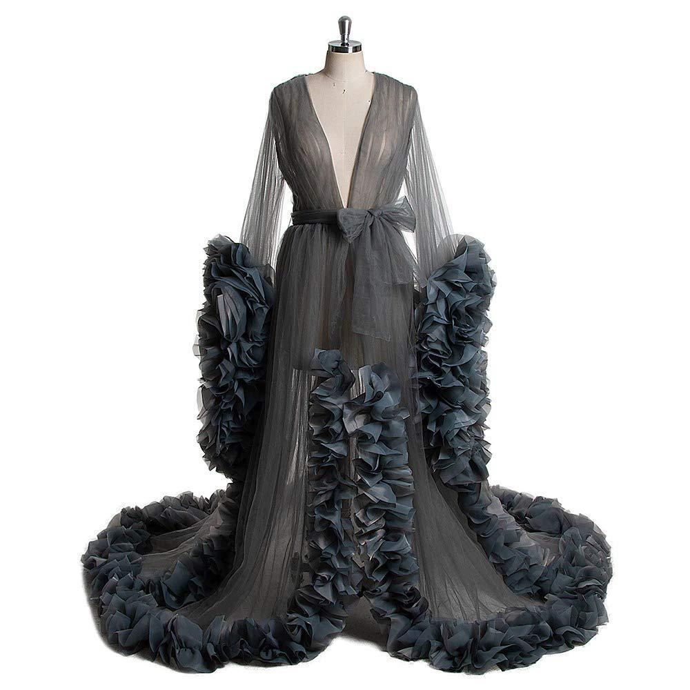 Kadınlar Sheer Robe Pijama Bornoz Uzun Kollu Gelin Bornoz Gecelik Tül Illusion Uzun Soyunma Elbise Düğün Eşarp Fotoğraf Elbise