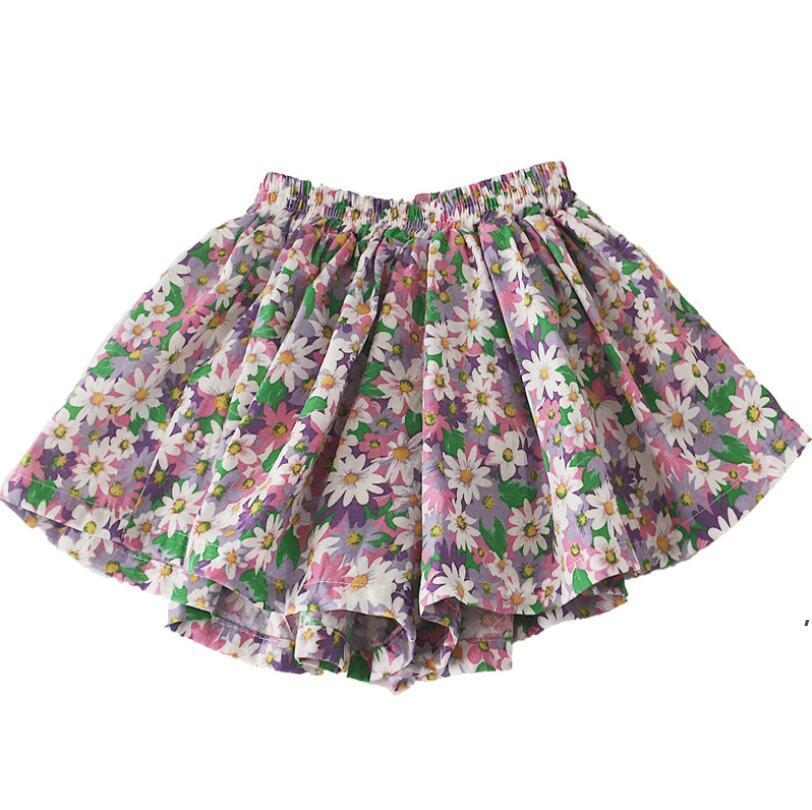 Daisy Falda Pantskirt Girl Tutu Shorts Lovely Summer Summer Estilo extranjero de algodón delgado Pantalones de pierna de ancho Baby Mini Flor Daisy Kid Ropa AHD5321