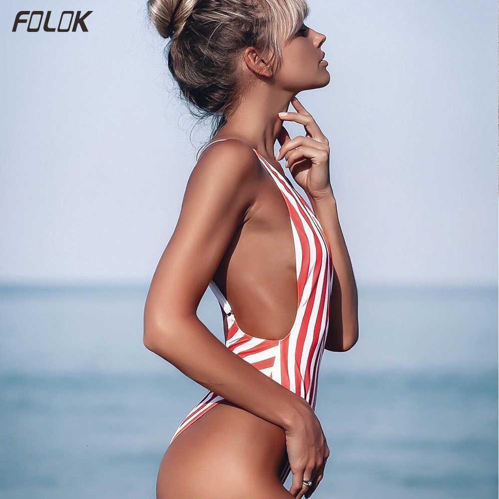 One Piece Swimsuit Female Sexy Low-cut Monokini Stripe Bathing for Women Swimming Suit Backless Beachwear High Leg Swimwear