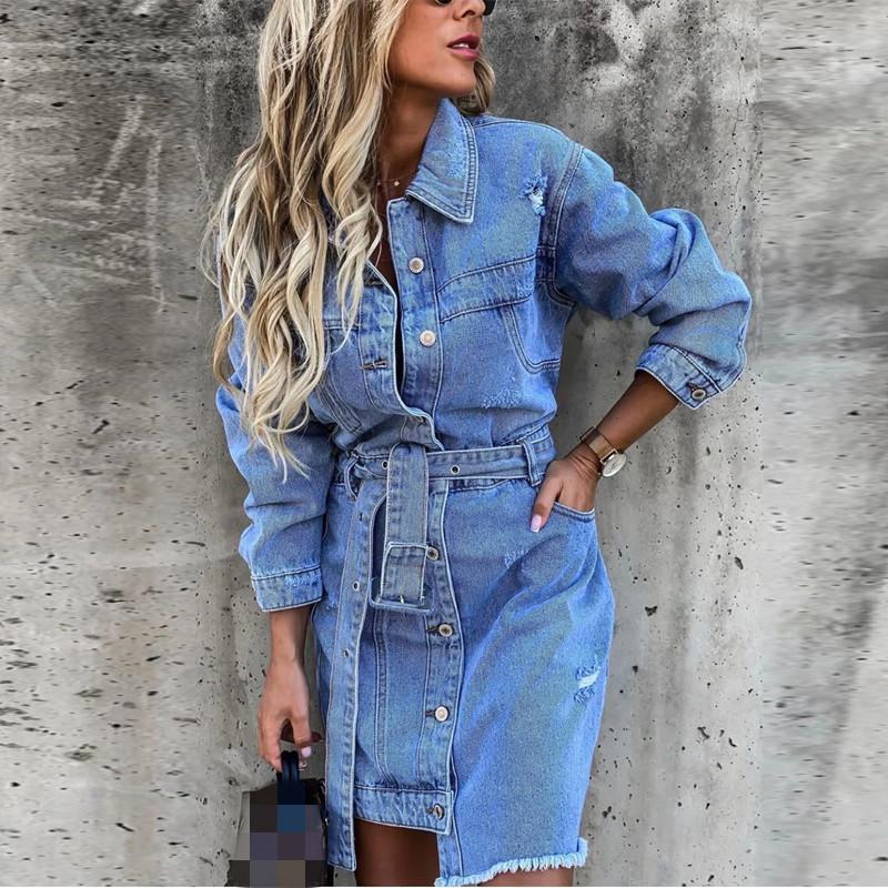 Mujeres Casual Blue Spring Denim Vestido de mezclilla High Street Cuello de Turndown de manga larga Vestido de bolsillo simple 2021 Vestido de cinturón vintage de moda X0521