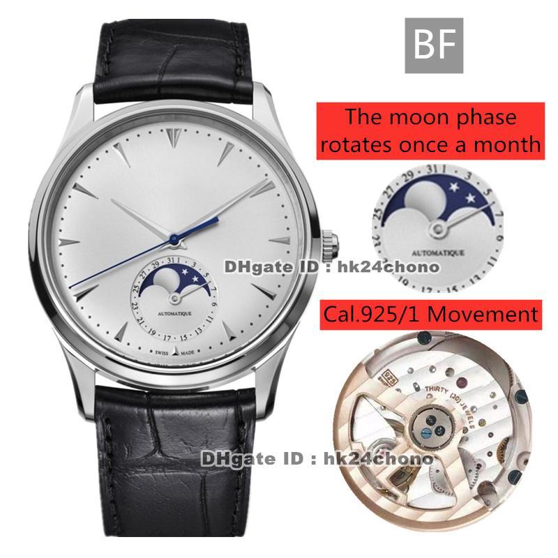 El mejor BF Master Control Master Ultra Thin Moon 39mm Steel Cal.925 / 1 Reloj automático para hombre 1368420 Silver Dial Strap Strap Gents Gents Watches