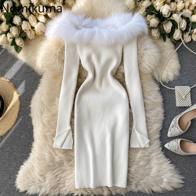 Повседневные платья Nomikuma Женщины свитер платье меховые лоскутные сексуальные косой шеи без бретелек вязаный с длинным рукавом тонкий бодикорн Vestidos 6D810