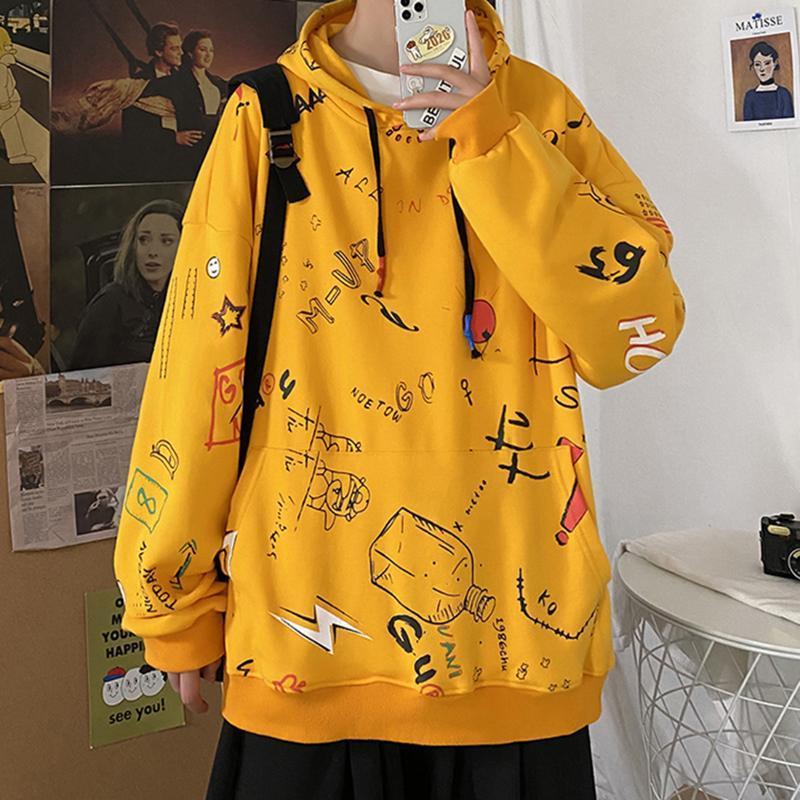 Mjartoria erkek hoodies erkekler 2021 kış polar anime kazak erkek hip hop Harajuku japon streetwear sarı hoodie erkekler
