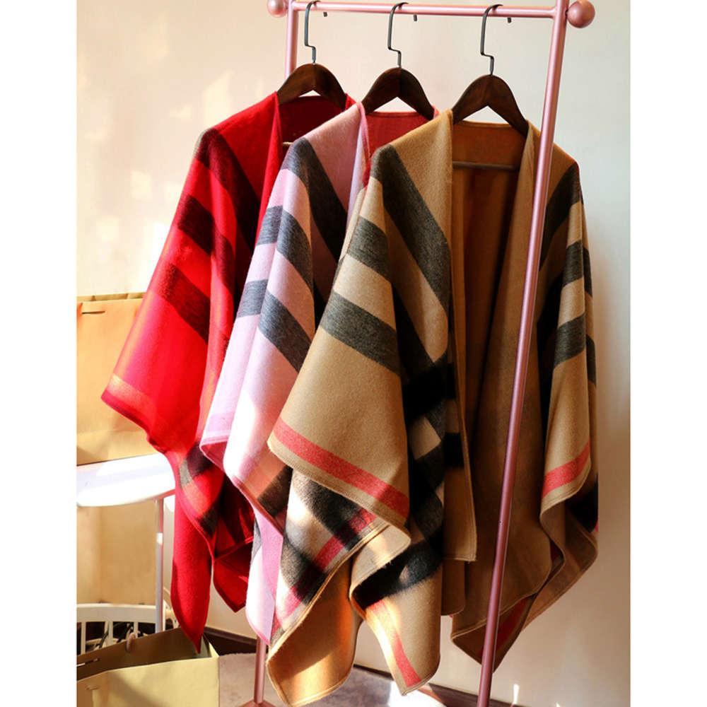 Thickened high luxury Plaid Cape dual purpose cashmere scarf coat shawl women's street