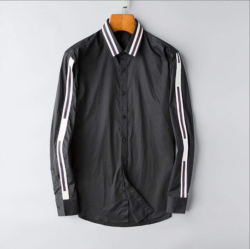 2021 Herren Business Casual Shirt Männer Langarm Gestreifter Slim Fit Masculina Soziale männliche T-Shirts Neue Mode Mann Überprüft # 203 Hemd