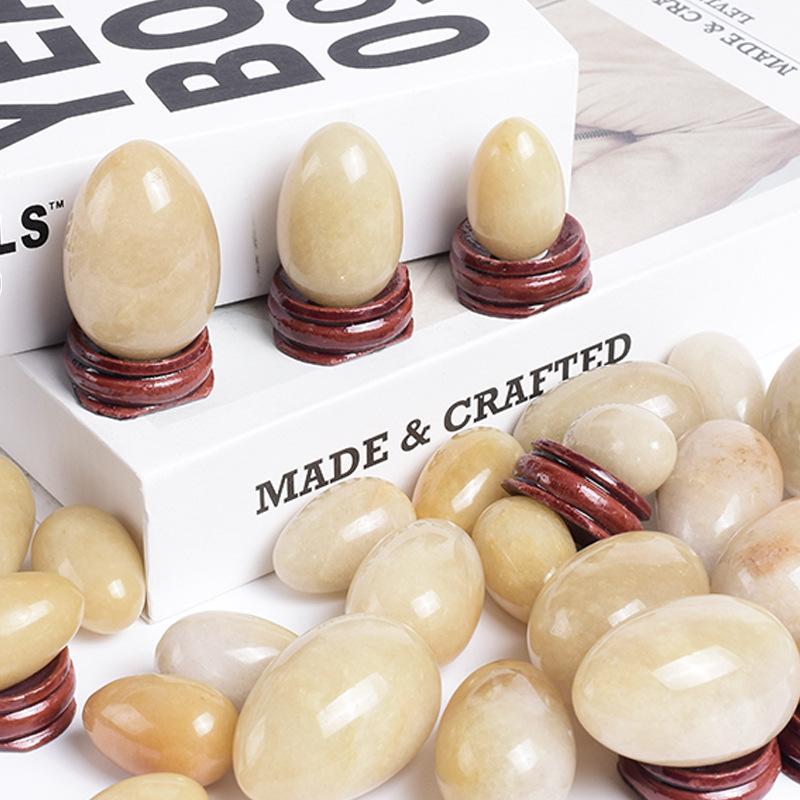 Gebohrte Naturmarmor M Topas Jade Egg Yoni Egg Massage Steine für Kegel Übungskörper Massagepflegewerkzeuge