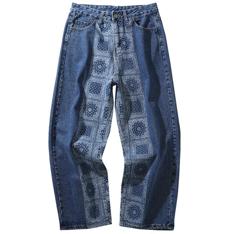 Erkek Jeans Yüksek Kireyaquy Erkekler Lüks Paisley West Crips Kanlar Pamuk Denim Pantolon Konfor Rahat Düz S-XL # D16
