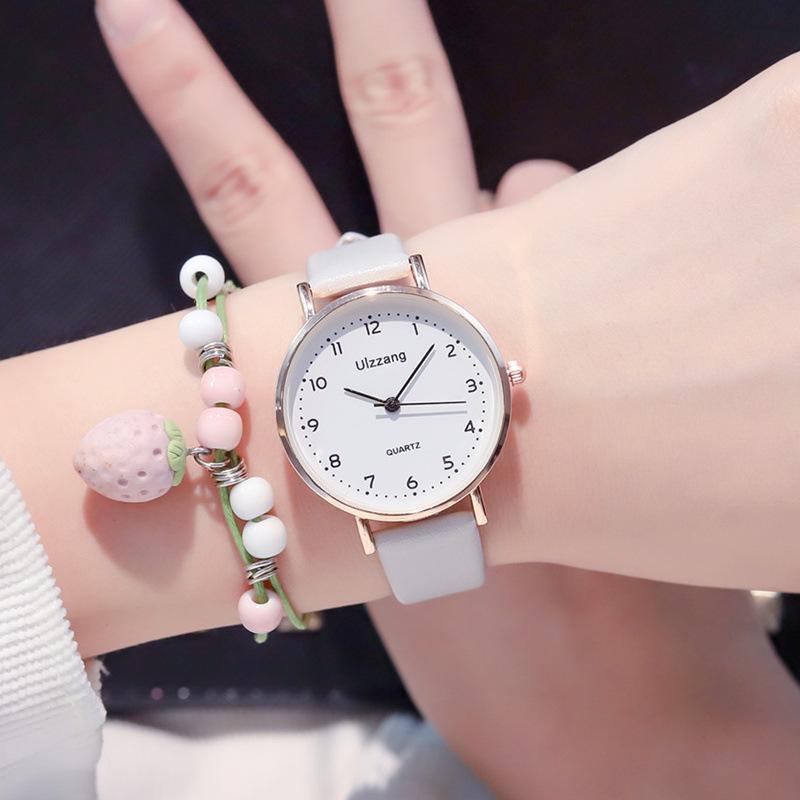 여성 패션 화이트 시계 쿼츠 가죽 숙 녀 손목 시계 2019 Ulzzang 브랜드 간단한 번호 다이얼 여성 시계 몬트르 펨 메