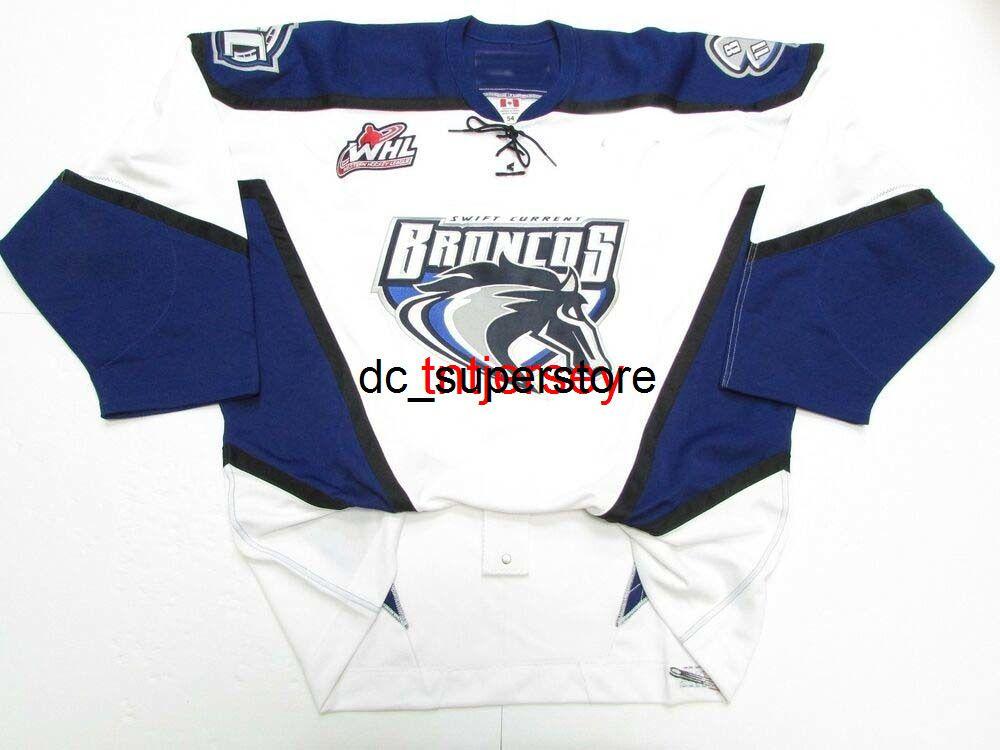 Dikişli Özel Swift Geçerli Broncos WHL WHL Beyaz Hokey Jersey Herhangi Bir Ad Numarası Ekleyin Erkek Çocuklar Jersey XS-5XL