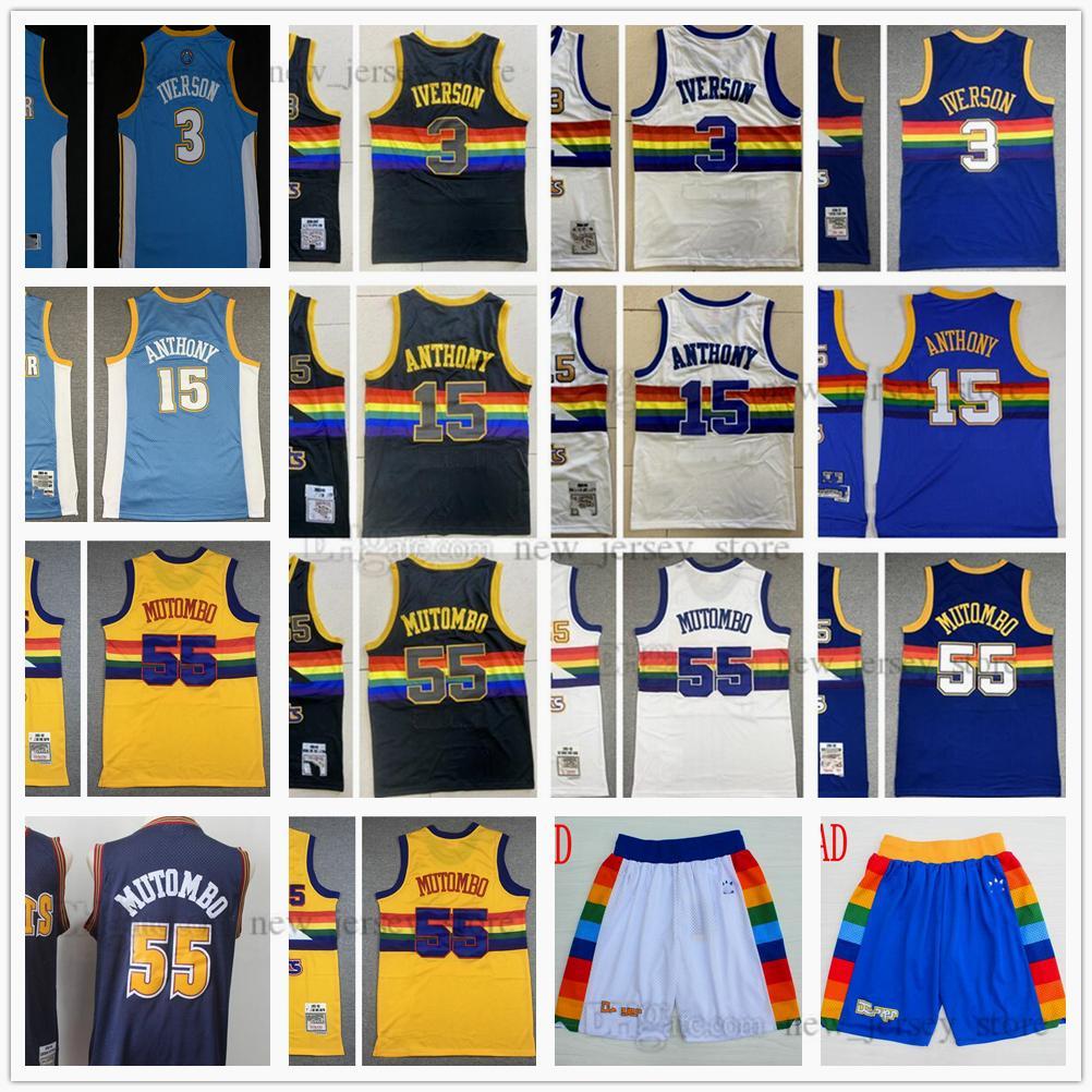 Retro 2006-07 Mitchell y Ness 3 Allen Baloncesto Iverson Jersey cosido 15 Carmelo 55 Dikembe Anthony Mutombo Jerseys Shorts Amarillo Blanco Negro Azul Vintage
