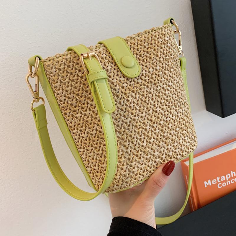Shoulder Bags Fashion Straw Weave Beach Bag Leather Patchwork Crossbody For Women 2021 Purse And Handbags Luxury Designer Sac